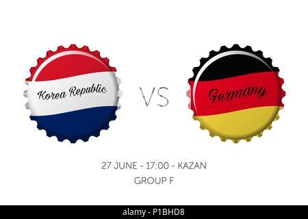 Soccer championship - Korea Republic VS Germany, 27 June - Stock Photo