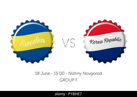 Soccer championship - Sweden VS Korea Republic - Stock Photo