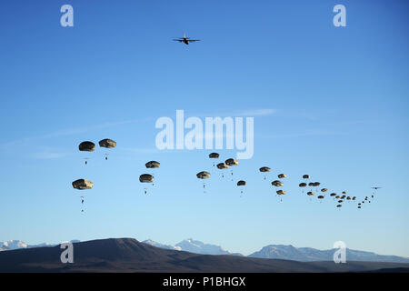 A wave of U.S. Army paratroopers, primarily from 3rd Battalion, 509th Parachute Infantry Regiment, cover the airspace over the Donnelly Drop Zone outside of Delta Junction, Alaska, Oct. 12, 2016. Elements of the 4th Infantry Brigade Combat Team (Airborne), 25th Infantry Division, conducted a mass tactical airborne assault training event, otherwise known as a joint forcible entry exercise, as part of Exercise Spartan Cerberus, a brigade-level field training exercise that concludes at the end of the month. (U.S. Air Force photo by Tech. Sgt. Steven R. Doty) - Stock Photo