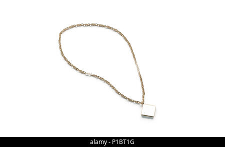 Blank White Golden Pendant Rhombus Mockup Top View Isolated 3d