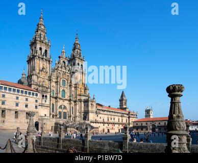 Santiago Cathedral. The Cathedral of Santiago de Compostela from Praza do Obradoiro, Santiago de Compostela, Galicia, Spain - Stock Photo