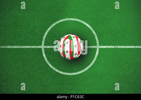 Composite image of football in mexico colours - Stock Photo