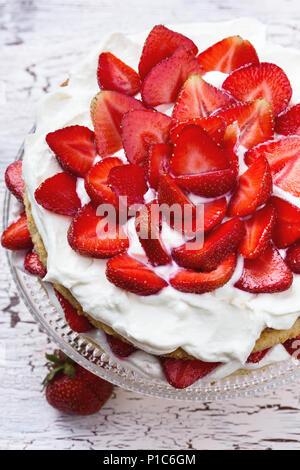 Homemade summer cake with strawberries and cream cheese - Stock Photo