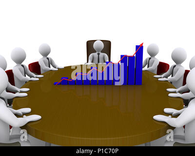 Businessmen sitting around a table which has a chart on top of it - Stock Photo