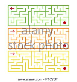 Abstract rectangular isolated labyrinth. There are three types in the set. Different colors on a white background. An interesting game for children. S - Stock Photo