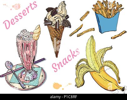 Snacks and desserts: milk shake, ice cream, banana, french fries. Isolated on white background. Hand drawn vintage sketchy style vector illustration. Food, cafe menu, delicious, sweet summer. - Stock Photo