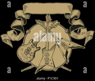 Heavy metal coat of arms. Drawing of electric guitar, bass, drums. Hand drawn engraving style vector illustration. Rock music, concert, festival banner, t shirt print, band logo template. - Stock Photo