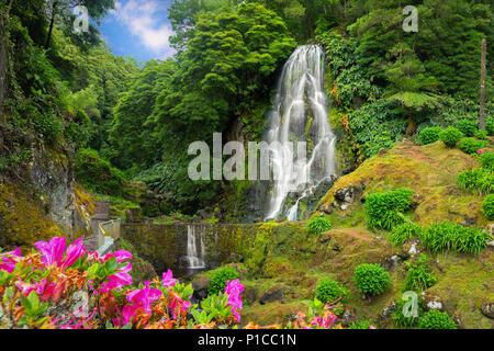 Veu da Noiva waterfall, Sao Miguel island, Azores, Portugal - Stock Photo
