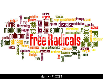 Free radicals, word cloud concept on white background. - Stock Photo