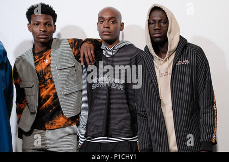 London, UK. 11th June, 2018. A model backstage ahead of the What We Wear show during London Fashion Week Men's June 2018 at the BFC Show Space on June 11, 2018 in London, England. Credit: Krisztian Pinter/Alamy Live News Stock Photo
