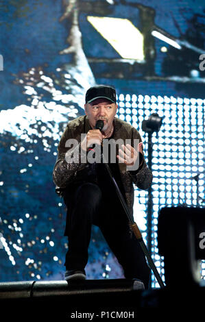 Rome, Italy. 11th June, 2018. Vasco Rossi in conte at the Olympic stadiums in Rome with his non-stop live 2018. in the photo Vasco Rossi Credit: Independent Photo Agency/Alamy Live News - Stock Photo