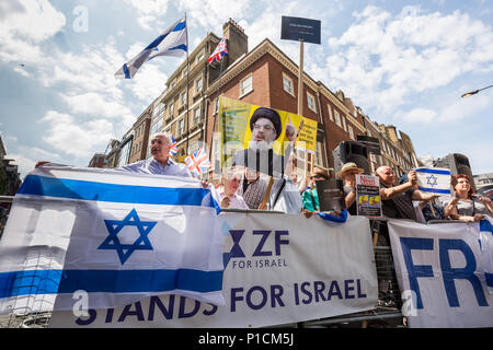 London, UK. 10th June, 2018. Pro-Palestinian Al Quds Day march through central London organised by the Islamic Human Rights Commission. An international event which began in Iran 1979. Credit: Guy Corbishley/Alamy Live News - Stock Photo