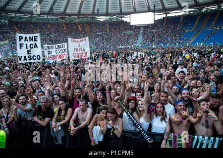 Rome, Italy. 11th June 2018. Vasco supporters during the 'Vasco non stop tour 2018' at Olympic Stadium, Rome, Italy on 11 June 2018. Photo by Giuseppe Maffia Credit: Giuseppe Maffia/Alamy Live News - Stock Photo
