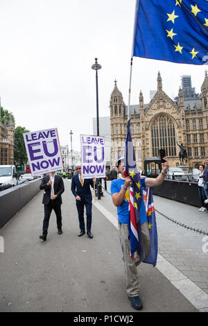 London, UK. 12th June, 2018. Pro-EU and anti-EU activists demonstrate opposite Parliament on the day of a House of Commons vote on amendments proposed by the House of Lords to the EU Withdrawal Bill. Credit: Mark Kerrison/Alamy Live News - Stock Photo