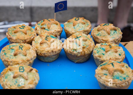 London, UK. 12th June, 2018. Pork pies bearing the message 'Stop Brexit' brought by pro-EU activists demonstrating opposite Parliament on the day of a House of Commons vote on amendments proposed by the House of Lords to the EU Withdrawal Bill. Credit: Mark Kerrison/Alamy Live News - Stock Photo