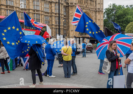 London, UK. 12th june 2018. As the commons debate on the Brexit deal approaches, members of SODEM and other anti-Brexit, pro-EU groups gather outside Parliament for a Pies not Lies protest. Credit: Guy Bell/Alamy Live News - Stock Photo
