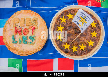 London, UK. 12th june 2018. Pies not Lies on a flag with all teh EU member flags on it- As the commons debate on the Brexit deal approaches, members of SODEM and other anti-Brexit, pro-EU groups gather outside Parliament for a Pies not Lies protest. Credit: Guy Bell/Alamy Live News - Stock Photo