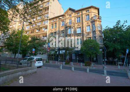 Belgrade, Serbia - May 03, 2018: Morning on Studentski trg square - Stock Photo