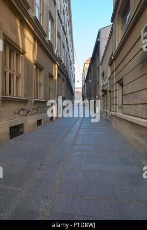 Belgrade, Serbia - May 03, 2018: Morning on 1300 Kaplara street - Stock Photo