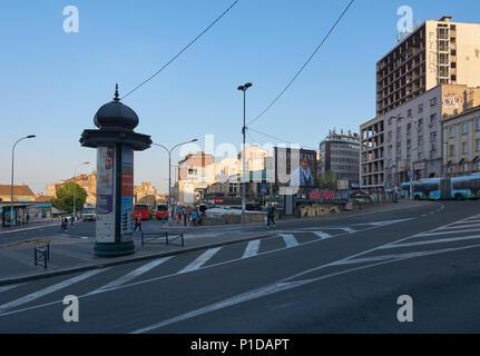 Belgrade, Serbia - May 03, 2018: Morning on Kraljice Natalije street - Stock Photo