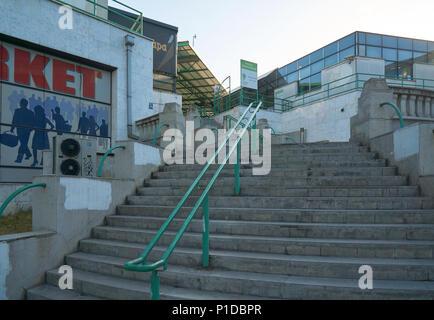 Belgrade, Serbia - May 03, 2018: Upstairs to the farmer's market Zeleni venac - Stock Photo