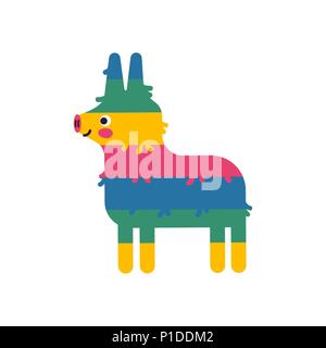 Mexican donkey pinata on isolated background for special event. Cute children birthday party decoration of latin american culture. EPS10 vector. - Stock Photo