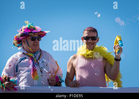 Brighton, East Sussex, August 6th, 2016. Thousands of people line the streets of Brighton to help celebrate the biggest Pride Festival in the UK, with - Stock Photo