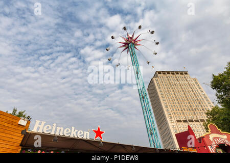 LONDON, ENGLAND - AUGUST 18: The Star Flyer ride in London, England on August 18, 2016. - Stock Photo