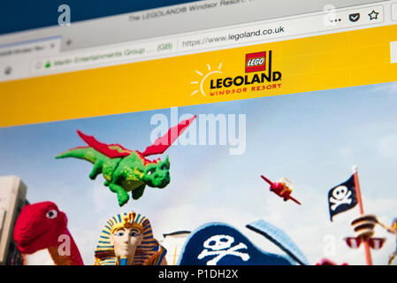 LONDON, UK - MAY 23RD 2018: The homepage of the website for Legoland Windsor - a Lego orientated theme park and resort in England, on 23rd May 2018. - Stock Photo