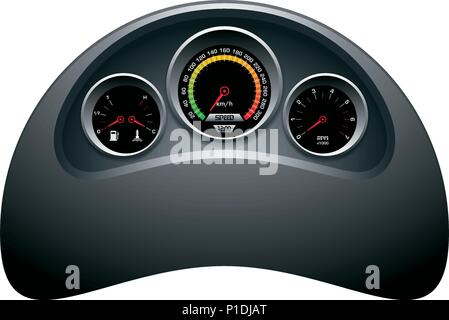 Design of speedometer, tachometer, fuel and heat panel. Dashboard template on white background. - Stock Photo