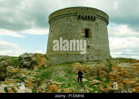 Martello tower on Ireland's Eye off the coast of Howth, Co. Dublin - Stock Photo