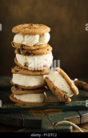 Homemade ice cream sandwiches with chocolate chip cookies - Stock Photo