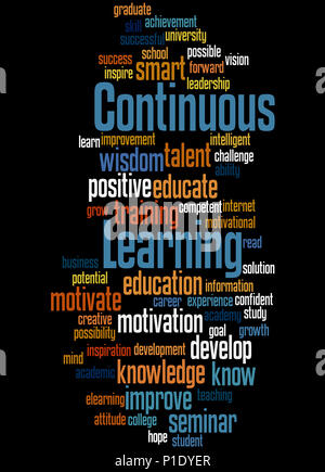 Continuous Learning, word cloud concept on white ...
