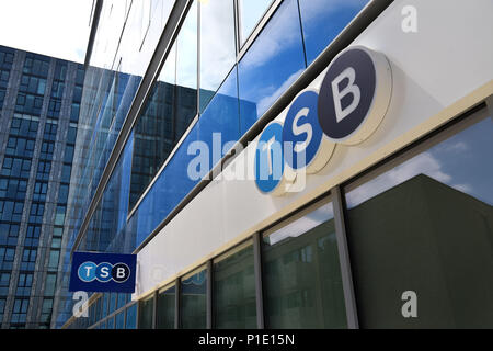The logo of the bank TSB on the outside of its branch in Archway, North London. - Stock Photo