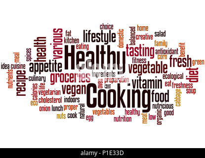 Healthy Cooking, word cloud concept on white background. - Stock Photo