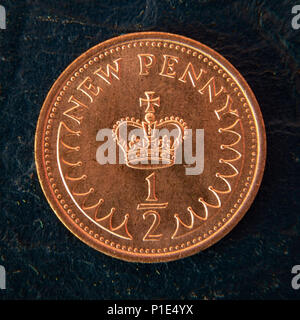 The Reverse of the UK half New Penny Coin introduced in 1973 as part of decimalisation. Withdrawn in 1984 because inflation left it valueless. - Stock Photo