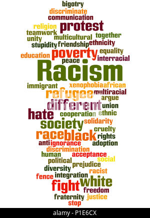 Racism, word cloud concept on white background. - Stock Photo