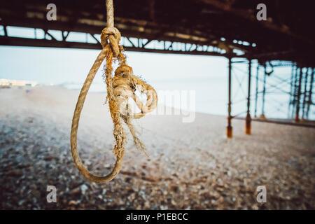 Gallows, rope under pier, Brighton, England - Stock Photo