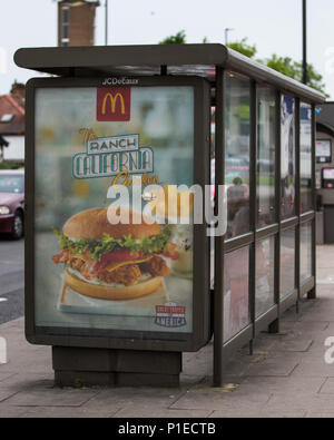 City Hall has announced that junk food adverts could be banned across the entire Transport for London (TfL) network.  Mayor of London, Sadiq Khan, says he wants to tackle the capitals 'ticking time bomb' of child obesity. If the proposal is approved, 'unhealthy food and drink' adverts will be banned on the London Underground, Overground, buses and bus shelters.  Featuring: Atmosphere, View Where: London, England, United Kingdom When: 11 May 2018 Credit: Wheatley/WENN - Stock Photo