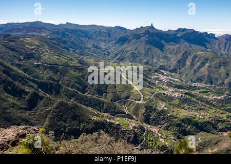View towards Tejeda and Roque Nublo, Gran Canaria, Canary Islands, Spain - Stock Photo