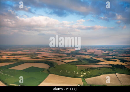 The Fovant Badges and Chiselbury Iron Age Fort, Wiltshire, England, UK, seen from above in a hot air balloon - Stock Photo
