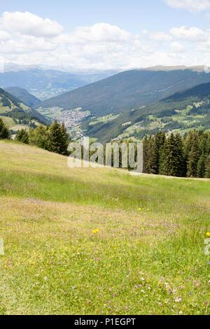 A view along The Val Gardena from near The Ciampinoi Gondola Selva Val Gardena Dolomites South Tyrol Italy - Stock Photo