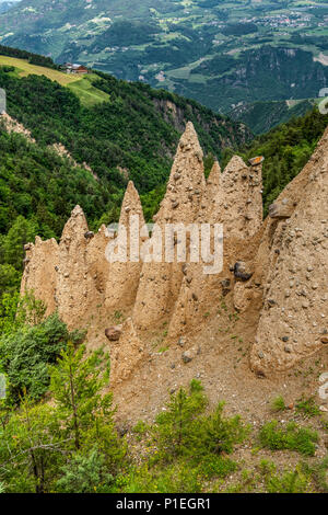 Earth pyramids, Collepietra - Steinegg, Trentino Alto Adige - South Tyrol, Italy - Stock Photo