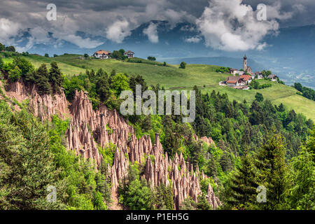 Earth pyramids, Renon - Ritten, Trentino Alto Adige - South Tyrol, Italy - Stock Photo