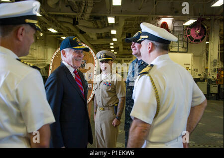 161019-N-FO981-0026 SAN DIEGO (Oct. 19, 2016) – The 75th Secretary of the Navy Ray Mabus boards amphibious assault ship USS America (LHA 6) for an all-hands call with more than 200 Sailors from various commands stationed in San Diego. (U.S. Navy photo by Seaman Jacob Holloway/Released) - Stock Photo