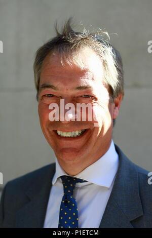 Nigel Farage LBC Radio presenter in Millbank, Westminster, London on 11th June 2018. MEP. MEPS. - Stock Photo
