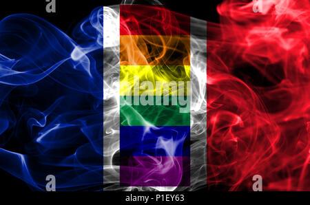France Gay smoke flag, LGBT France flag - Stock Photo