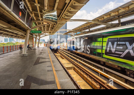 Trains at Skytrain Station in Bangkok - Stock Photo