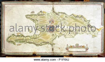 Map of Hispaniola, 1633.   The island of Hispaniola (from Spanish, La Española) is the second-largest island of the Antilles, lying east of Cuba. Christopher Columbus arrived there on December 5, 1492, and on his second voyage in 1493 founded the first Spanish colony in the New World on it. - Stock Photo