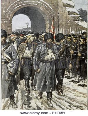 Capitulation of Port Arthur - Russian garnison surrenders to Japanese troops. The Siege of Port Arthur (August 1, 1904- January 2, 1905), the Russian deep-water port and naval base at the tip of the Liaotung Peninsula in Manchuria was one of the longest and most vicious battles during the Russo-Japanese War. - Stock Photo